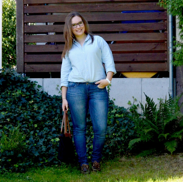 When Anna Denim all Over Longchamp Tasche Ralph Lauren Bluse Esprit Jeans Timberland Schuhe