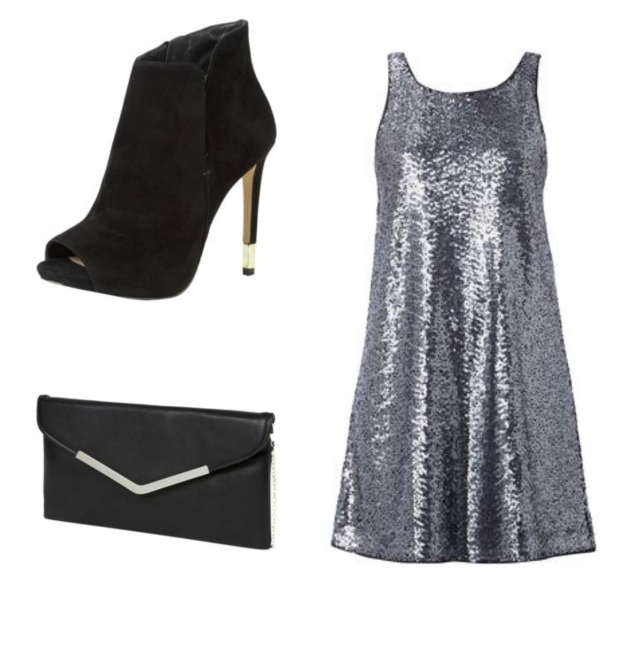 Silvesteroutfit Collage Paillettenkleid Clutch Peeptoes