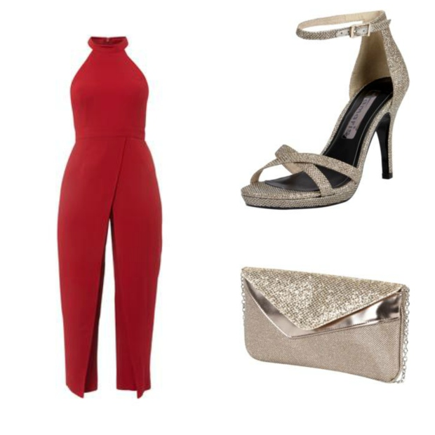 Silvesteroutfit Collage roter Jumpsuit