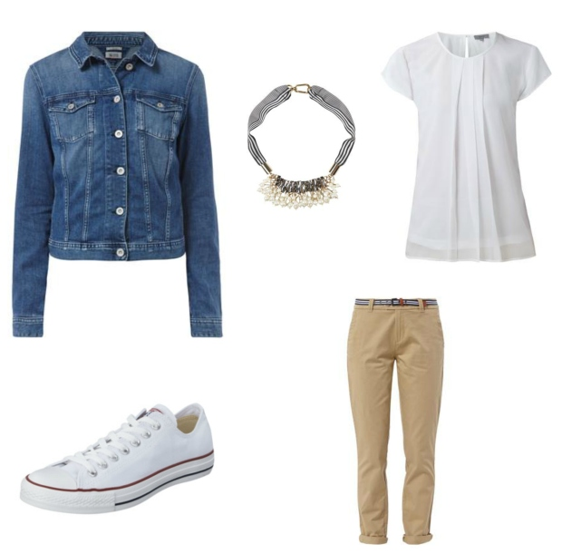 Fashion ID Collage Chino, Jeansjacke, Converse, Bluse