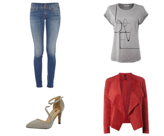 Fashion ID Outfit Jeans, Tshirt, Pumps, Wildlederjacke
