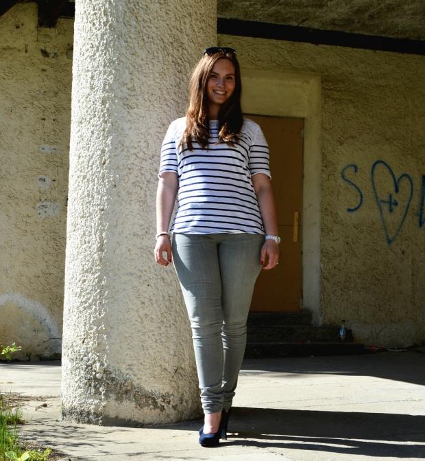 When Anna Fashion Streifenshirt, Jeans, High Heels 3